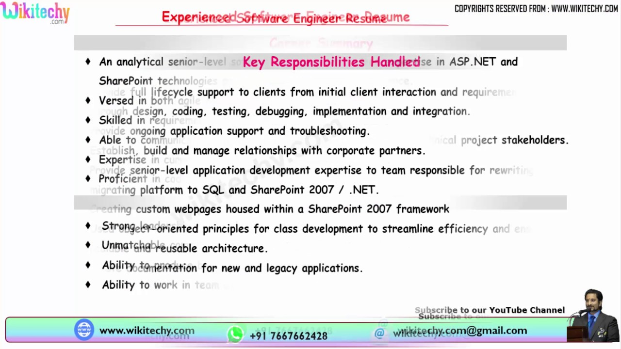 Experienced Software Engineer Resume | Resume Format For Software Engineer