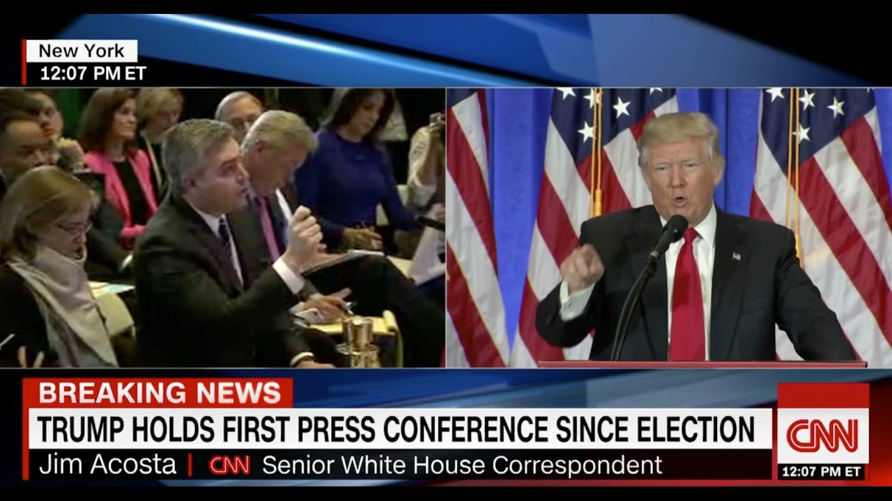"""Trump Calls CNN """"Fake News,"""" Then Takes Question from ..."""