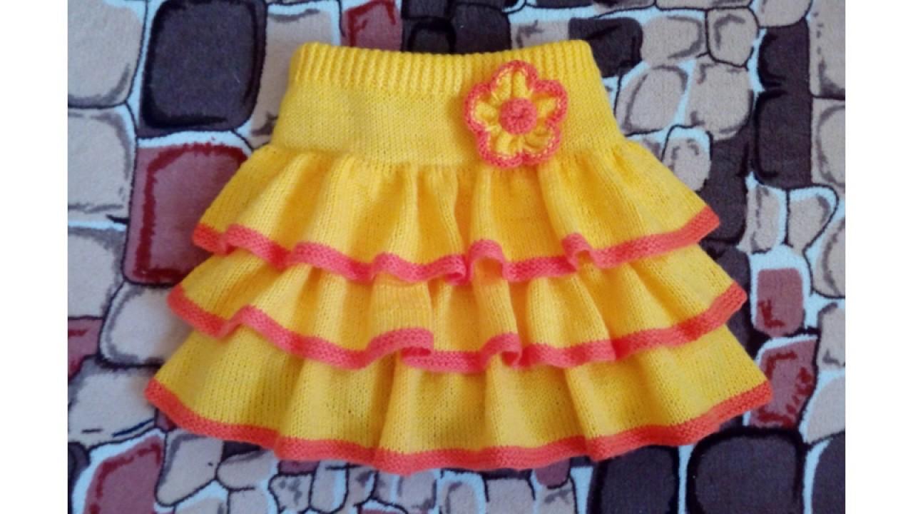детская юбка с рюшами вязанная