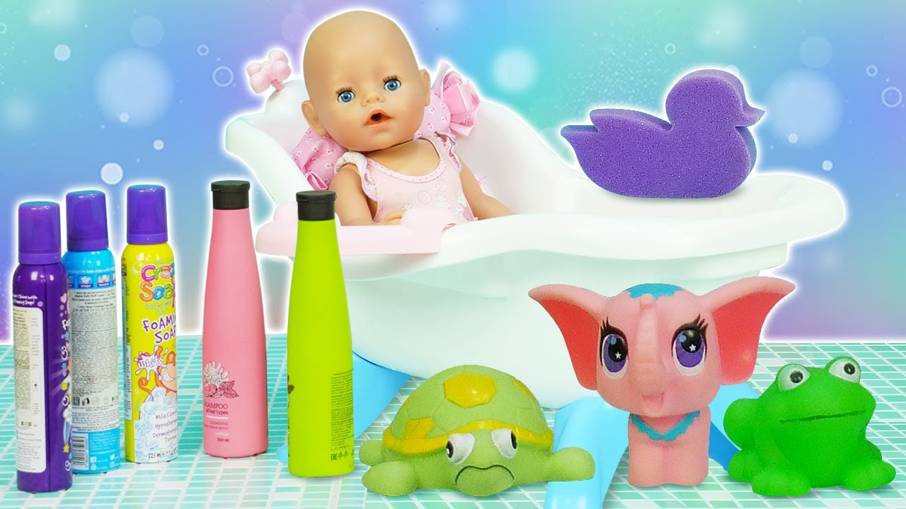 A toy bathtub & a toy stroller for Baby Annabell doll! Baby Born doll goes for a walk. Doll routines