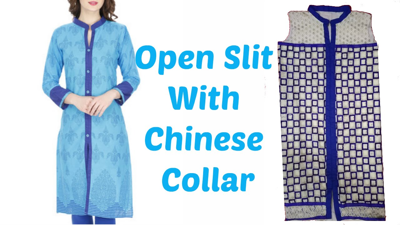 7244848fc How To Cut And Stitch Open Slit Kurti With Chinese Collar - YouTube