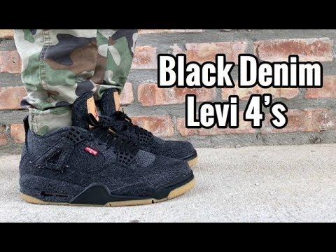 "f4887599de9 Air Jordan 4 x Levi ""Black Denim"" on feet - YouTube"