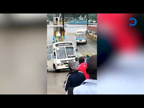CLOSE SHAVE: Kenyatta University bus driver tries to save bus from reversing into the Indian Ocean