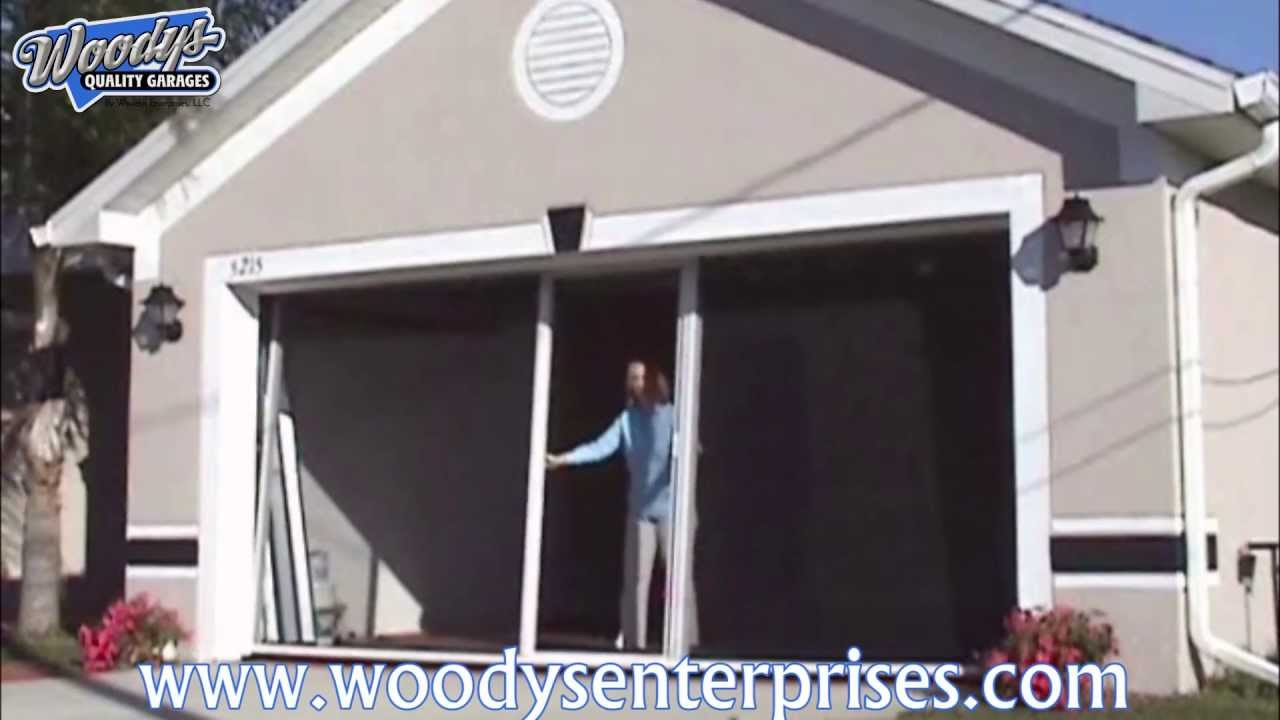 Breezy living retractable garage screen door system video for Retractable double garage door screen