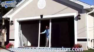 Breezy Living Retractable Garage Screen Door System Video Demonstration By Woodys Enterprises
