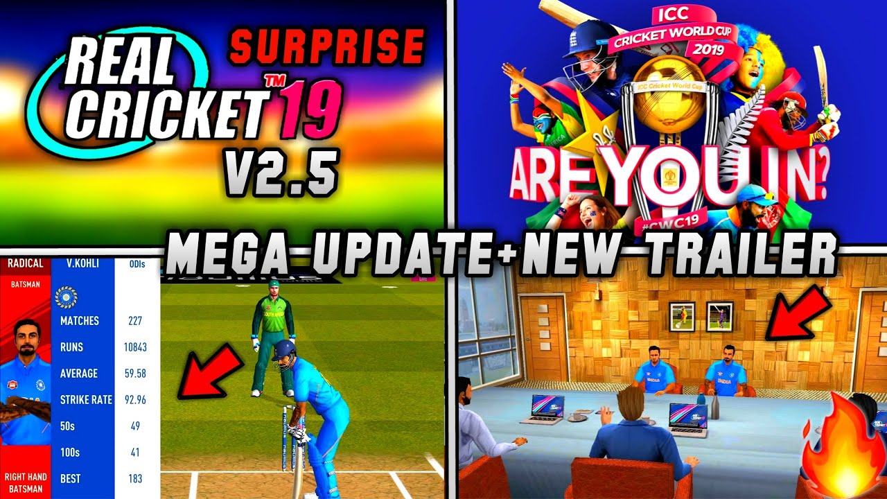 🔥Real Cricket 19 New Mega Update | V2 5 Amazing Features World Cup 2019  Official Trailer