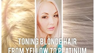 DIY • Toning bleached Blonde hair from brassy to platinum at home yellow orange grey silver white