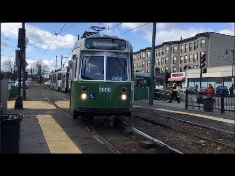 Green Line Trolley Switching Tracks at Cleveland Circle