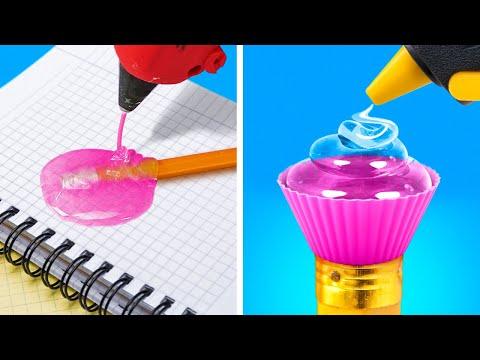 3D PEN CRAFTS || 20 Cool DIY School Supplies with Hot Glue Gun, Epoxy Resin
