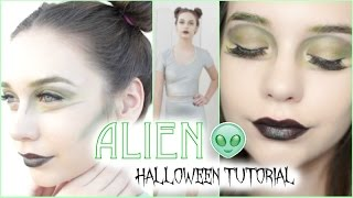 Cute Alien Halloween Tutorial! (Makeup, Hair, & Outfit) Thumbnail