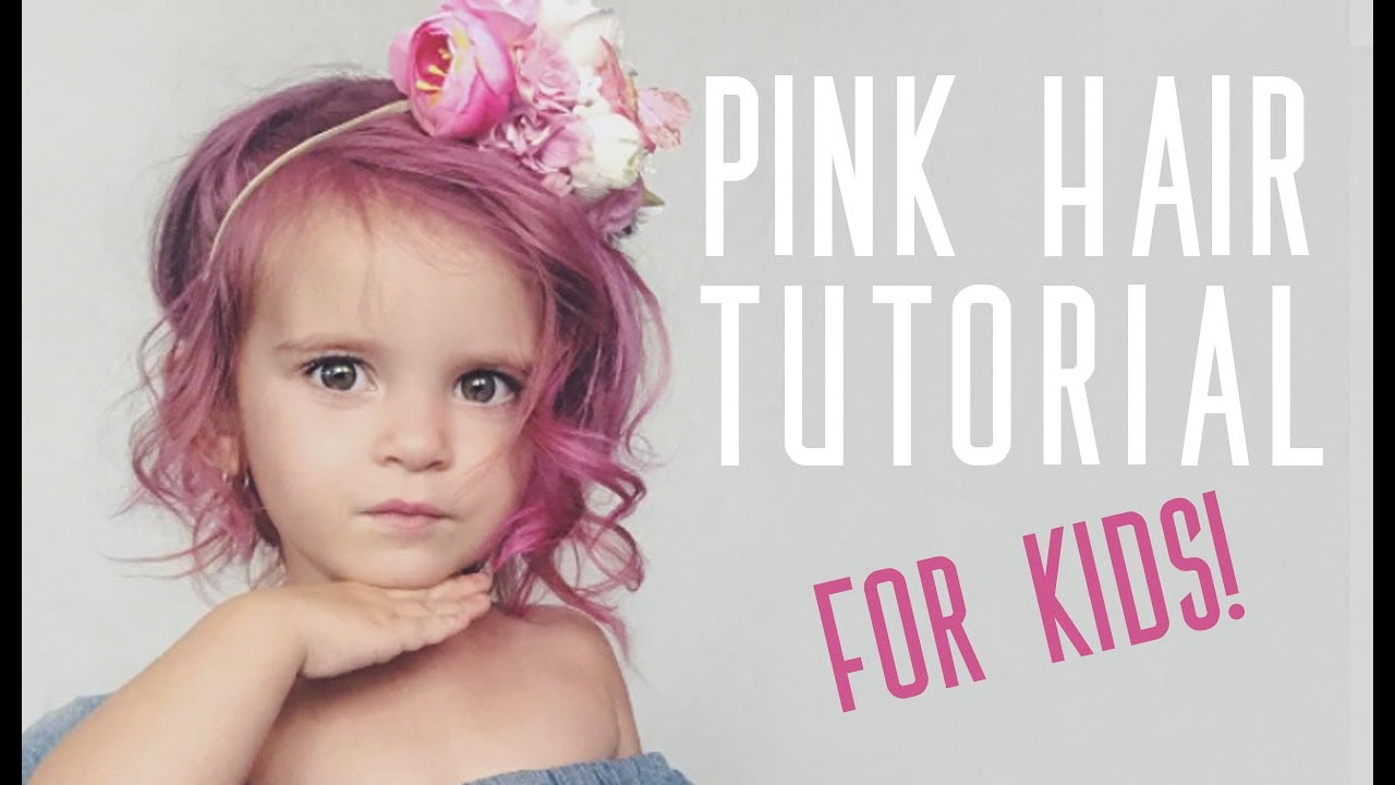 PINK HAIR  For Kids Hair Dye Tutorial  YouTube