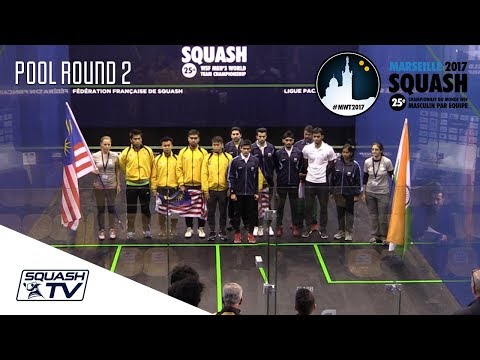 Squash: India v Malaysia - Men's World Team Champs 2017 - Pool Rd 2