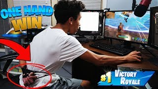 I Won Fortnite With ONE HAND Tied Behind My Back! *NO KEYBOARD* (Fortnite Battle Royale)