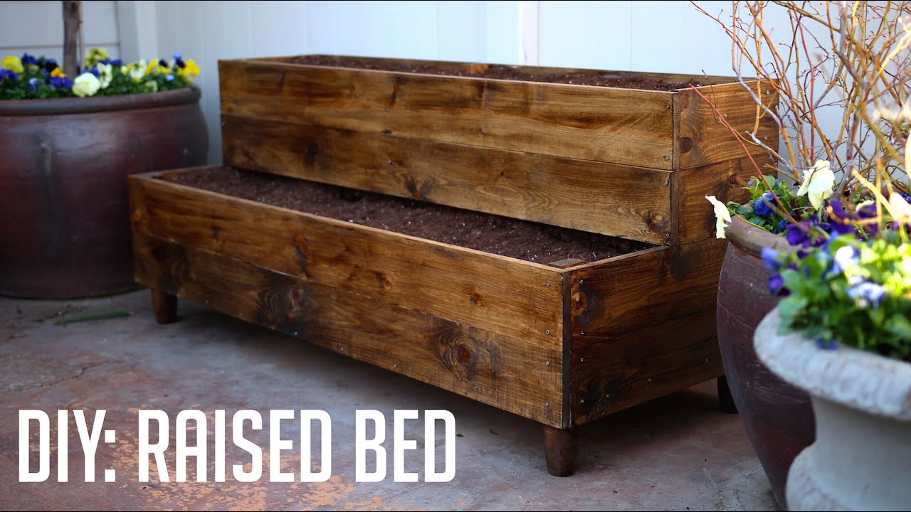 diy raised bed patio planter youtube. Black Bedroom Furniture Sets. Home Design Ideas