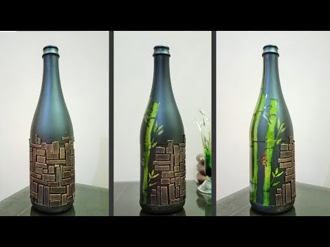 How to decorate a glass bottle - Glass Bottle Craft