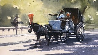"Advancing with Watercolor: Darks against Lights ""A Hansom Cab"""