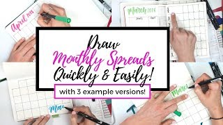 How to Draw 3 Types of Monthly Calendars in your Journal