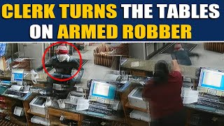 Heroic hotel clerk confronts an armed robber, video goes viral | OneIndia News