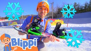 Learning How To Snowboard With Blippi | Winter Holiday Videos For Kids
