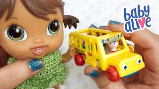 Baby Alive Crib Life Doll gets New World's Smallest Fisher Price  Little People School Bus