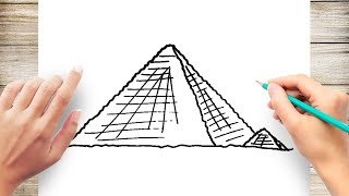 How to Draw Pyramid of Giza Step by Step