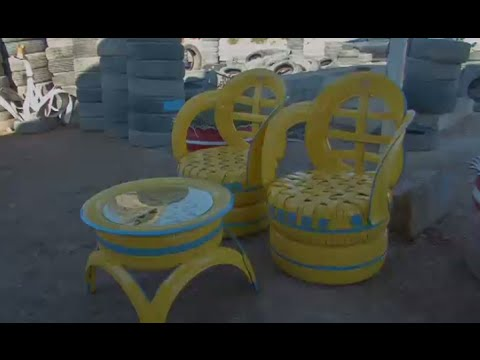 Flower beds, chairs and even clock: Iraqi man recycles old tires into furniture