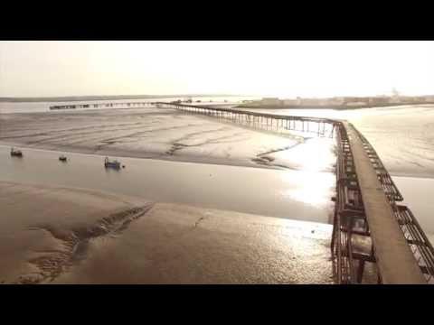Sea fishing Pier  UK :  River Thames  Drone
