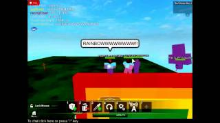 Pink fluffy unicorn dancing on rainbows! ROBLOX