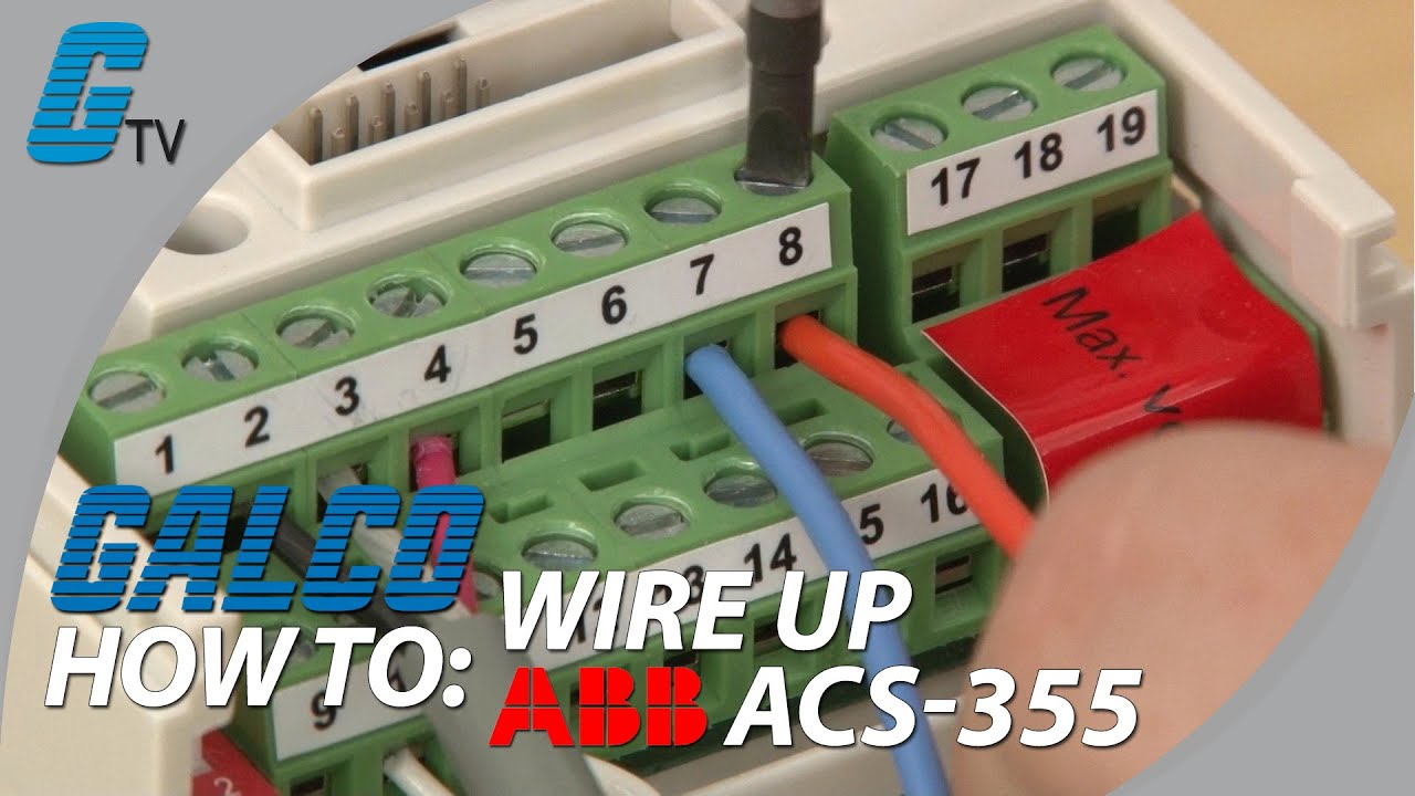 how to wire up i o on abb acs 355 ac drive for abb standard macro rh youtube com abb acs800 drive wiring diagram abb ach550 inverter wiring diagram