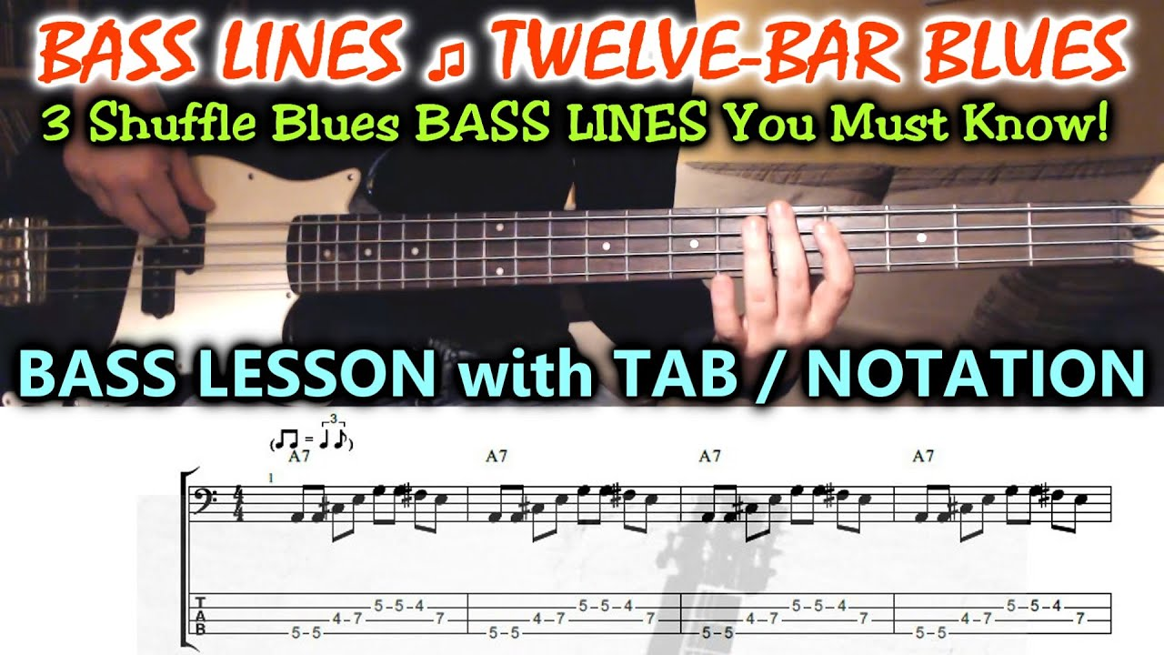 Blues BASS LESSON with TAB - 12 Bar Bass Lines in A (including Turnarounds)