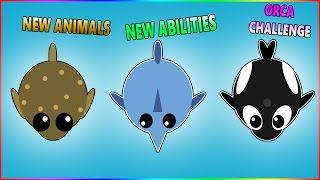 MOPE.IO 3 NEW ANIMALS & ABILITIES | Puffer Fish - Sword Fish - Orca (Killer Whale) Mope.io