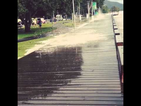 Cairns Esplanade King Tide 20th March 2015. Boardwalk splash!!
