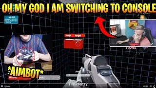 Tfue Reacts To *AIMBOT* Console Player Playing KovaaK's Aim Trainer ( Fortnite Funny )