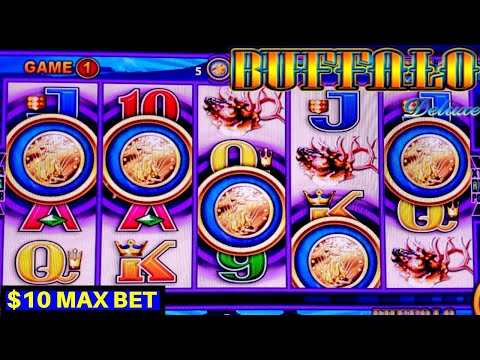 Buffalo Deluxe Rare 5 Coin Triggers & New Slot Machine MAJOR JACKPOT | Lighting Link Slot Machine