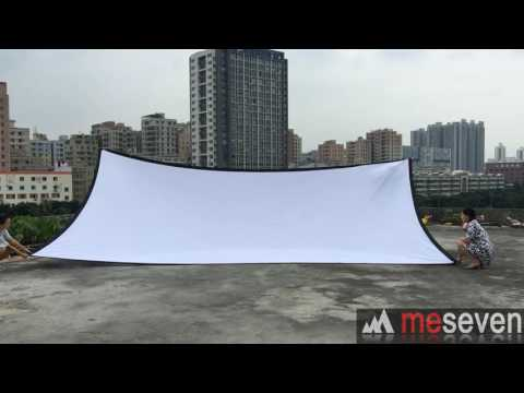 meseven White Canvas Material Fabric Projector Screen with Black Borders and Eyelets
