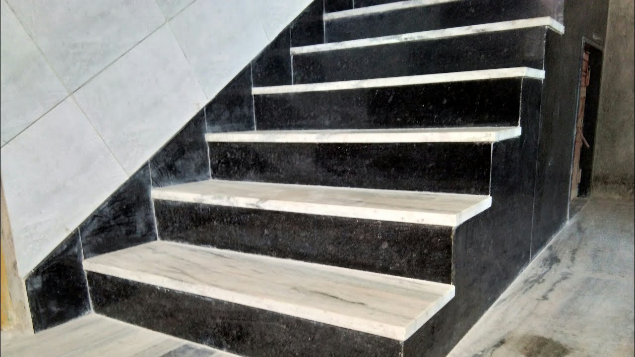 How Look Black And White Indian Marble And Granite Staircase | Black Granite Staircase Designs | India Staircase | Contemporary | Italian Marble Step | Double Staircase | Wood Girl