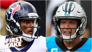 Deshaun Watson for Christian McCaffrey & 3 1st-rounders? First Take debates the possible trade offer