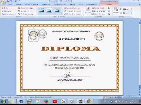 tutorial de como hacer un diploma en word 2016