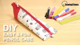 DIY EASY PENCIL CASE 필통만들기 | How to make Triangle Zipper Pouch [sewingtimes]