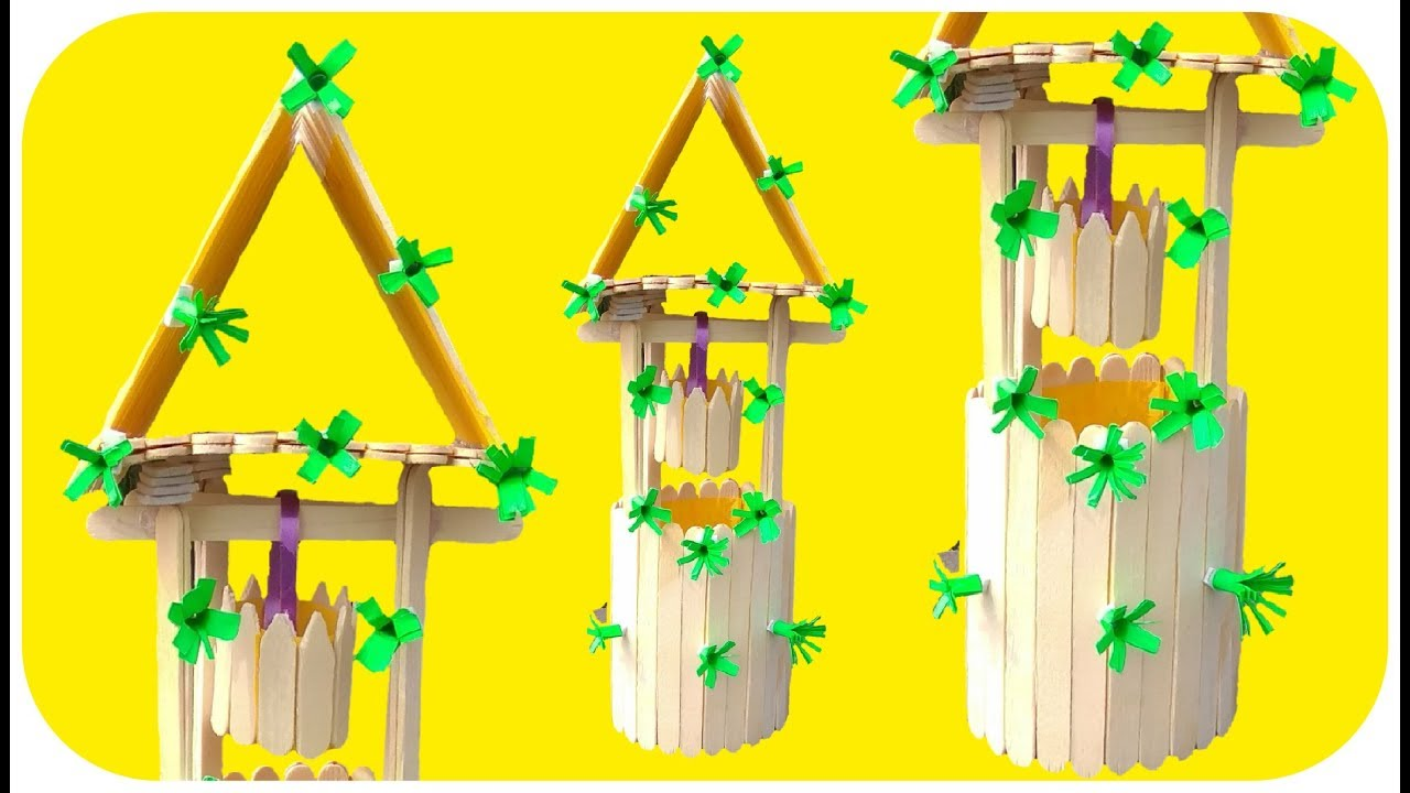 Recycling Art and Crafts Ideas: Popsicle stick home decoative art ...