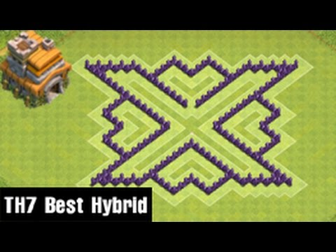 Clash Of Clans | Town Hall 7 Defense (CoC TH7) BEST Hybrid Base Layout Defense Strategy 2016