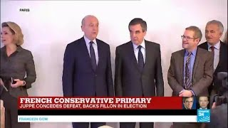French Conservative primary   François Fillon & Alain Juppé address supporters, call for unity