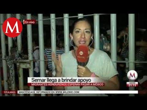 Migrantes hondureños en espera de pasar a México