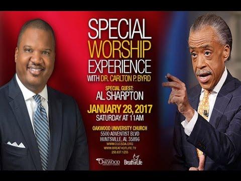 Al Sharpton at SDA Oakwood University Church. Subliminal Message: From Sabbath to Sunday