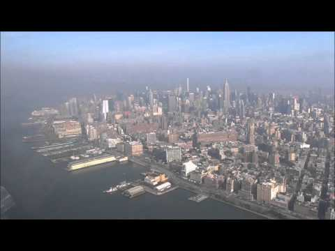 Scenic flight up and down Hudson River along Manhattan