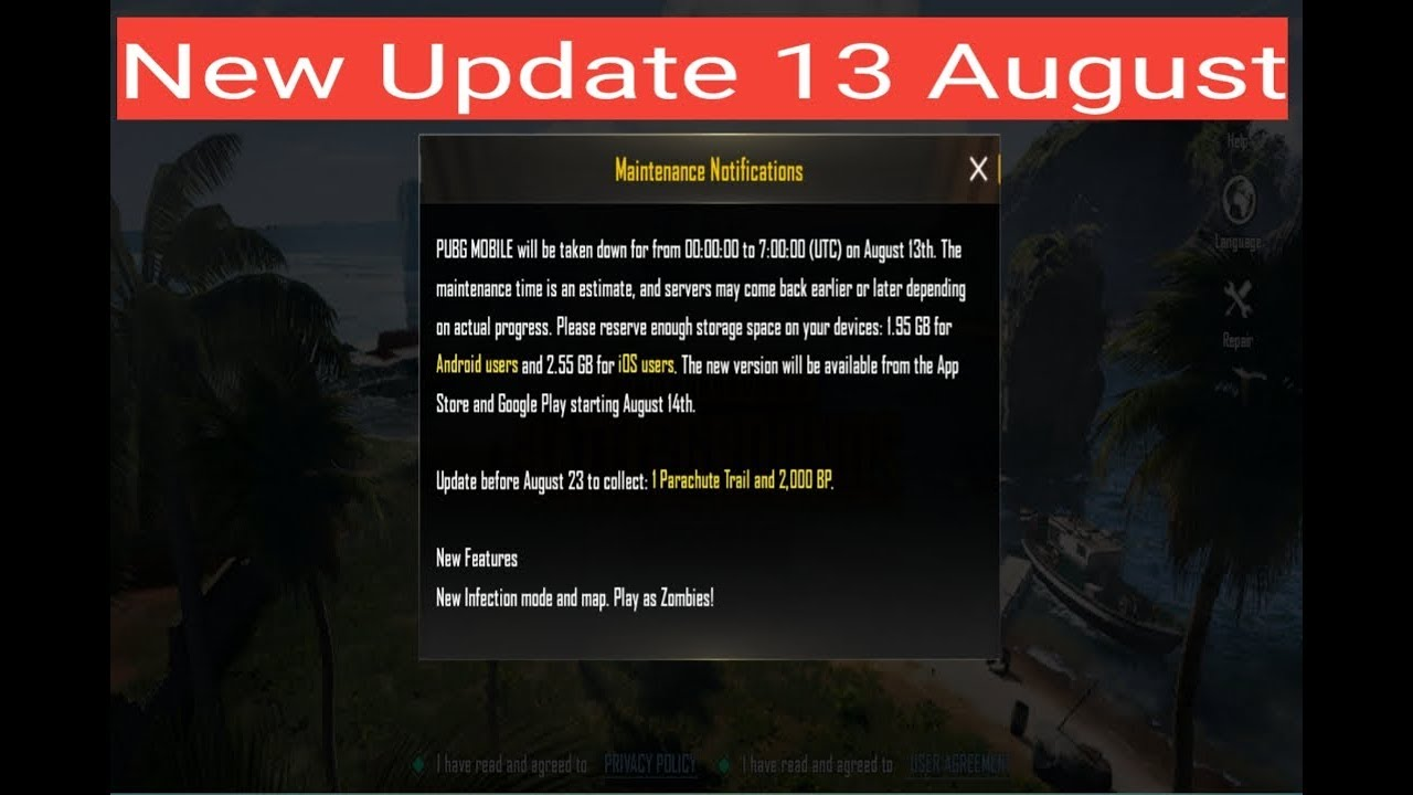 Pubg Mobile New Update Maintenance Notice Is Here!!! | Pubg Mobile New  Update 14/15 August estimate