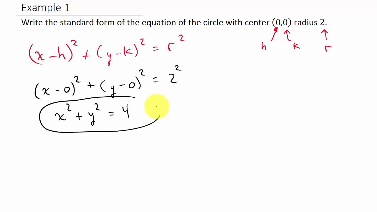 Finding the Equation of a Circle Given the Center and Radius