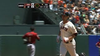 HOU@SF: Belt smashes a two-run shot to McCovey Cove
