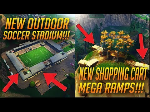 FORTNITE *NEW UPDATE PATCH V4.4* NEW SHOPPING CART MEGA RAMPS AND OUTDOOR SOCCER STADIUM