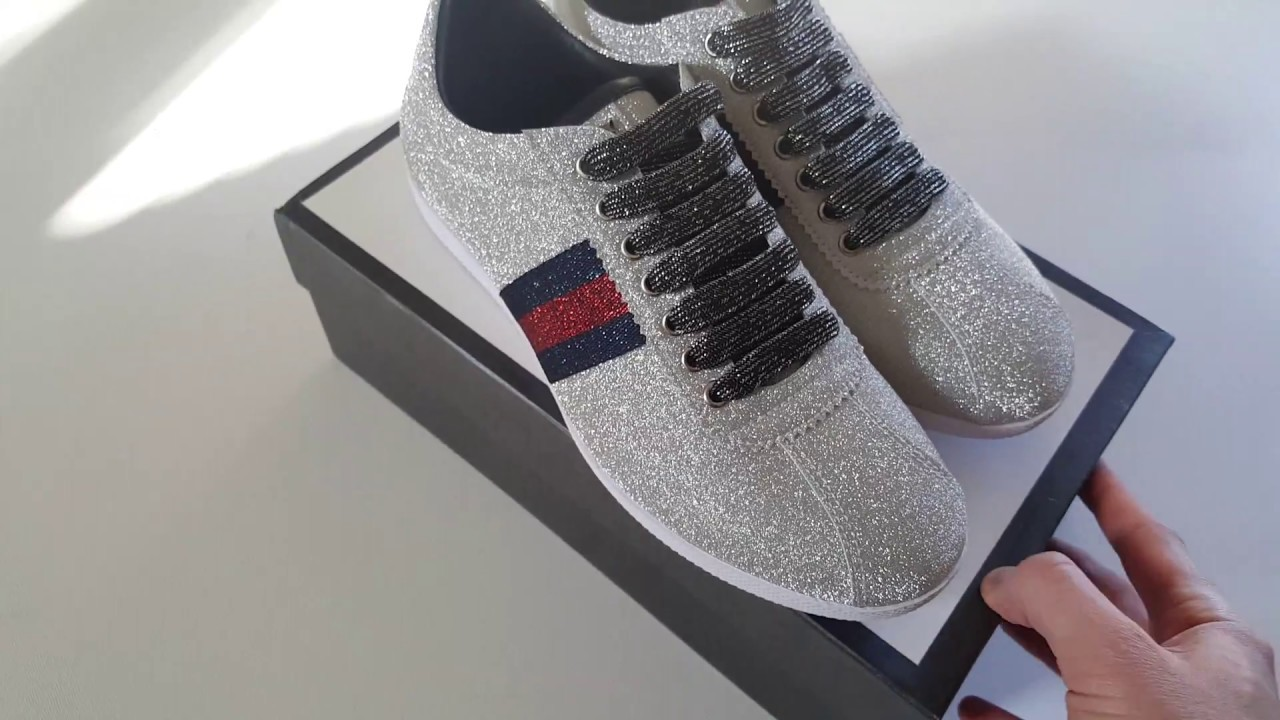 86e1a53cc33 Gucci glitter web bambi sneakers video review - YouTube